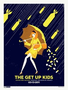 GigPosters.com - Brian Bonz - Miniature Tigers - Get Up Kids, The #design #illustration #gig poster #screen print #adam hanson