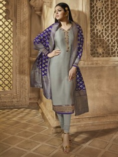 Bollywood Diva Drashti Dhami Style Grey Satin Georgette Embroidered Straight Cut Suit - Inddus.