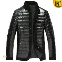 Mens Quilted Down-Filled Black Leather Jacket CW848332 #jacket #mens #leather