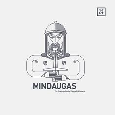 Statehood day illustration. www.tolithuania.com #lithuania #linear #line #sword #helmet #beard #character