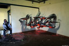 Odeith Anamorphic 3D Graffiti Letters Orange fluor Light Reflected