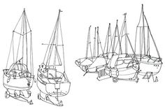 Sketch book : Travel illustrations on Behance, by rooftop illustrations Sail boats, Keswick, The Lake District #boats #district #sailing #moored #holiday #lake #sail #drawing