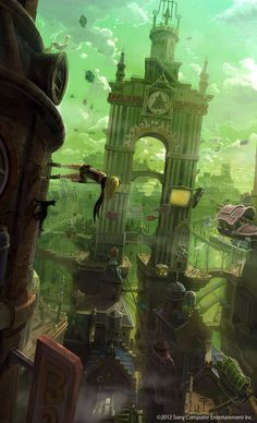 Takeshi Oga - Concept Art #fantasy #girl #city #illustration #concept #architecture #art #buildings #green