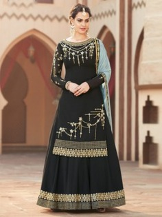 Black Embroidered Palazzo Suit - Inddus.