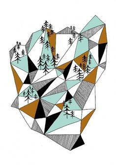 Geometric mountain print by depeapa on Etsy #ideas #illustration