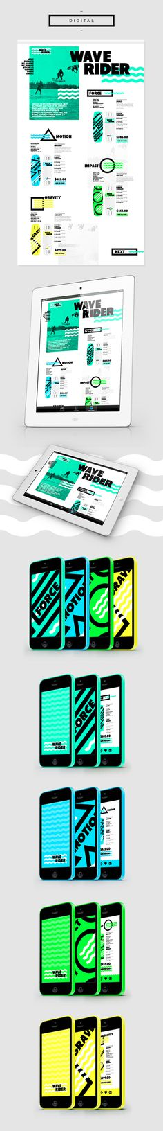 WAVERIDER // Branding on Behance #logo #identity #shape #green #branding #black #sea #water