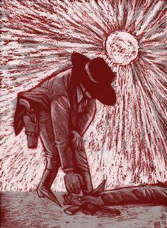 A Fistful of Dollars. Scraperboard + Digital #western #spaghetti #scratchboard #scraperboard #poster #art
