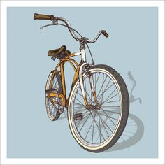 Bicycle Illustration Trilogy - 02 - Beach by Studio Epitaph http://www.studioepitaph.com/work#/bicycle-illustrations/ #bicycle #cruiser #illustration #bike #beach