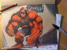 Red-Hulk-CAWFEE-web.jpg (JPEG Image, 900 × 675 pixels) #illustration #hulk #sketch