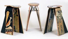 recycled skateboard stools