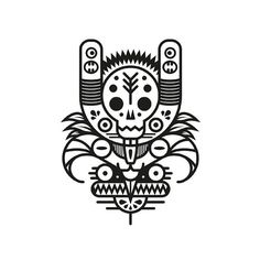 Black & white totem series. http://society6.com/MuratSunger shop #shop #print #art #illustration