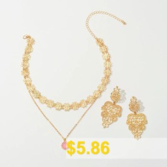 Fashion #Gold #Openwork #Pendant #Necklace #And #Gold #Flower #Cutout #Earring #- #GOLD