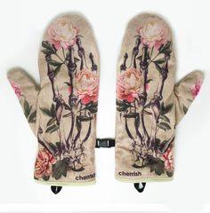 CHERRISH - RÄ™kawiczki Zimowe CHERRISH KoÅ›ci Peonie #accesories #gloves #fashion