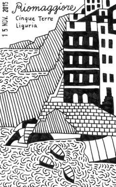 Riomaggiore, Cinque Terre  #illustration #drawing #italy