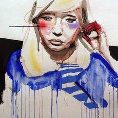PAPER FACES : Lou Ros #70x70cm #acrylicpastel #louros13h31 #paper