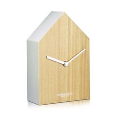 London Clock Company 'Hus' Mantel Clock, Wood and White, 20cm x 13cm x 6cm