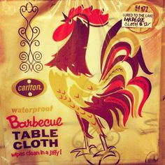 Barbecue Table Cloth #rooster #illustration #color