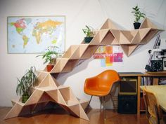 Room divider and plant stand #geometric #plants #office