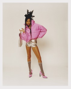 Fendi in the winter 2020 issue of Wonderland pink puffer jacket