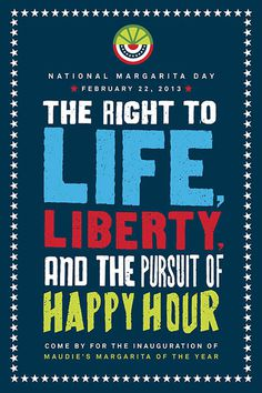 Promotional poster for National Margarita Day at Maudie's. #print