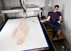 robotic blood printer draws ted lawson's nude self-portrait #self-printing