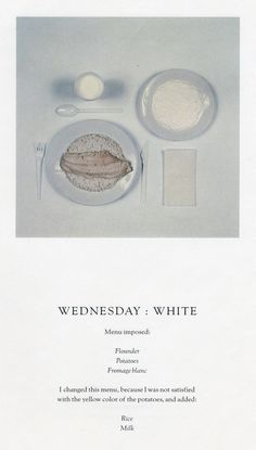 Sophie Calle, The Chromatic Diet #menu #photography #typography