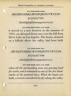 Bauer Bodoni roman and italic type specimen #type #specimen #typography