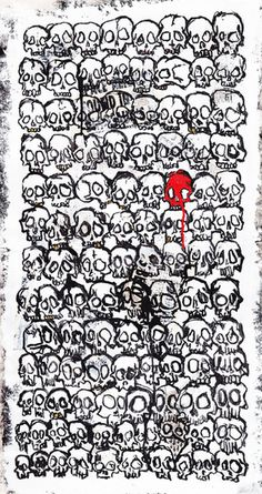 Skull Pattern Art Print #marker #ink #white #design #black #paint #illustration #art #and #skull