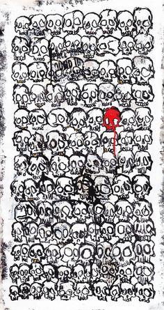 Skull Pattern Art Print #marker #ink #white #design #black #paint #illustration #art #and #skull