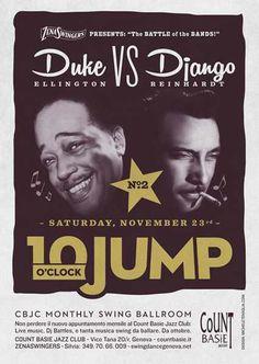 #poster #vintage #retro #lindy hop #duke ellington #django reinhardt #manouche #gipsy jazz #jazz #michele tenaglia