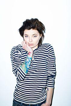 Becky #girl #stripes #bareflash #tattoo #photography
