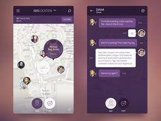 iOS 8 Geolocation App #inspiration #flat #ux #design #ui #app #dark