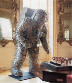 Spaceman made from Wire Coathangers #david #sculpture #mach #art