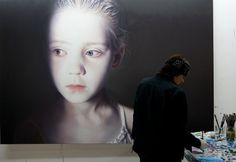 Gottfried Helnwein | WORKS | Mixed Media on Canvas | Helnwein working on #painting #helnwein #girl