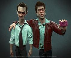 Fight Club (Brad Pitt & Edward Norton) 3D modeling