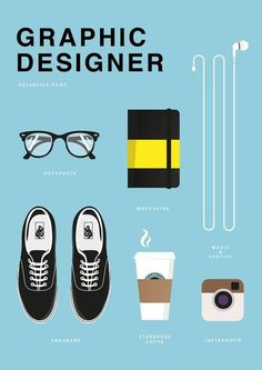Graphic Designer – It's true… I do work better with coffee, music… and my glasses on… #graphic design #inspiration #print