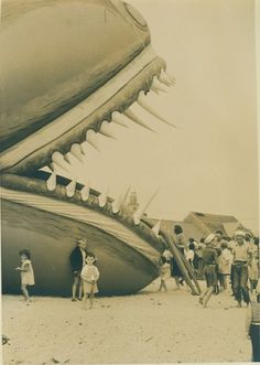 Children and the sea serpent | Flickr - Photo Sharing! #serpent #nantucket #vintage #kids #beach