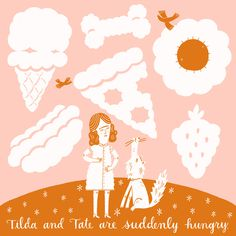 food, clouds, Mary Kate McDevitt, illustration, fun, abstract, person