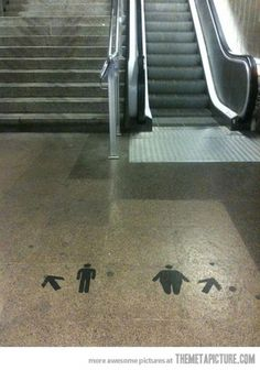 Barcelona's metro | Fat skinny street art #escalator #fat #guerrilla