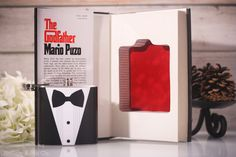Hollow Book Safe and Tuxedo Hip Flask The Godfather #mario #white #red #safe #godfather #flask #design #books #book #black #the #hollow #puzo #tuxedo #bow #velvet #tie