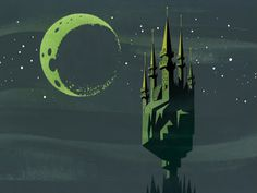 PUMML #castle #graphic #black #stars #moon #blue #dark #green