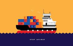Stayafloat2x #illustration #ship #geometric