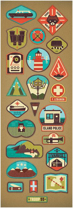 illustration, badge, icons