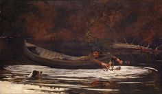 "Winslow Homer with realist ""Hound and Hunter"" painting #oil #painting #paintings"