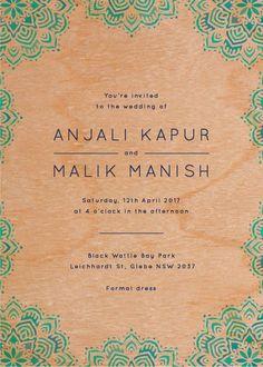 Namaste - Wedding Invitations  #paperlust #weddinginvitation #weddinginspiration #invitation #cards #design #paper #print #wood #printonwood