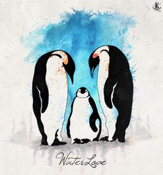 Waterlove by ~Amarelle07 on deviantART #animals #watercolor #mixed media #penguins #amarelle07 #adrian kotwicki