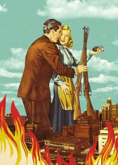 City on Fire #city #print #retro #on #fire #vintage #poster #surreal