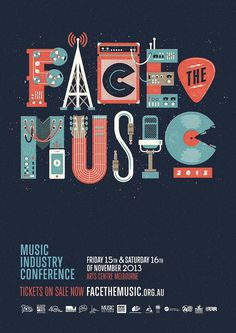Face The Music 2013 by Andrew Fairclough #typography #inspiration #poster #festival