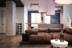 Pink: Minimalist Apartment in Kiev #design #interiors #living #hooooooomecom #ideas #room