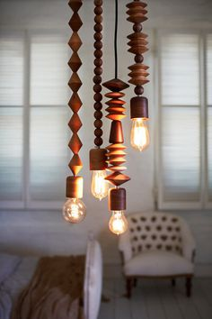 Bright Beads Wooden Lamps by Marz Designs Photo